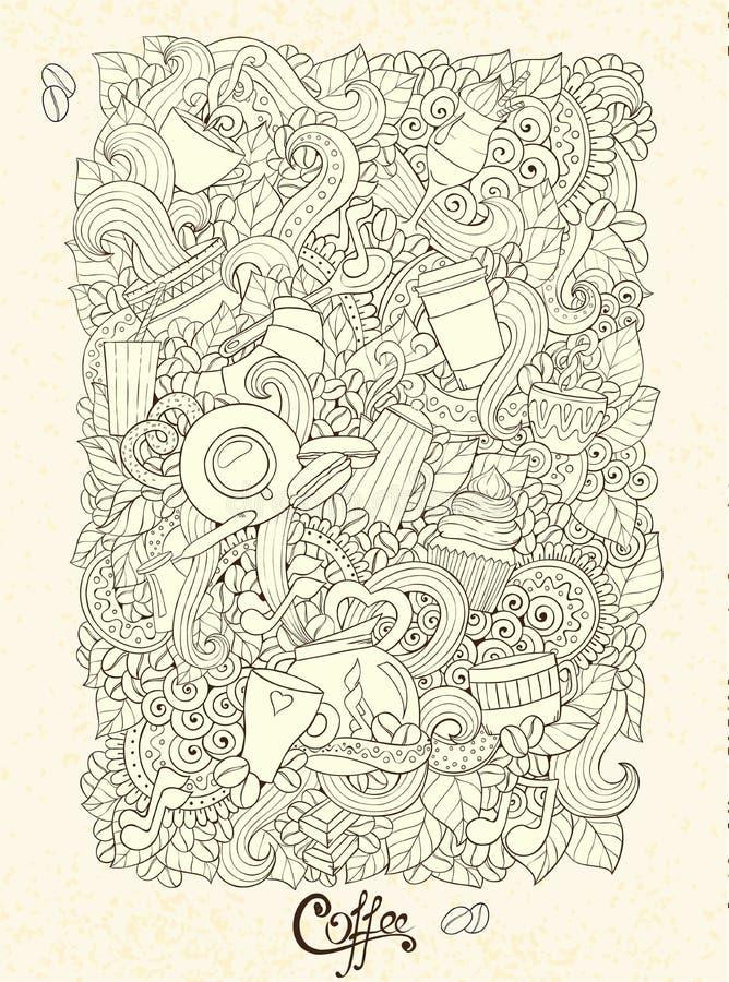 Hand-Drawn διανυσματική απεικόνιση Doodles καφέ ελεύθερη απεικόνιση δικαιώματος