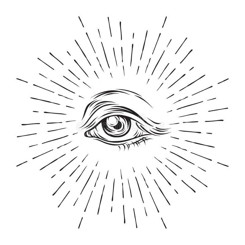 Hand-drawn μάτι σκίτσων grunge της πρόνοιας Μασονικό σύμβολο όλη η θέα ματιών νέος κόσμος κατάταξης Θεωρία συνωμοσίας Αλχημεία, θ διανυσματική απεικόνιση