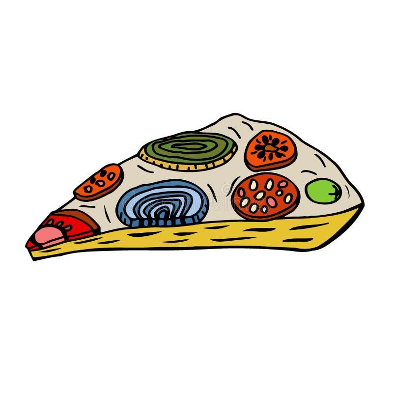 Hand-drawn ορεκτική πίτσα διανυσματική απεικόνιση