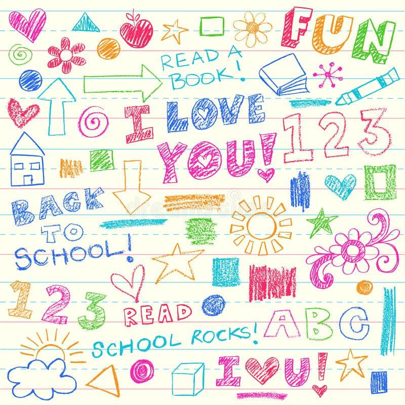 Hand-Drawn πίσω στα στοιχεία Doodle σχολικών κραγιονιών διανυσματική απεικόνιση