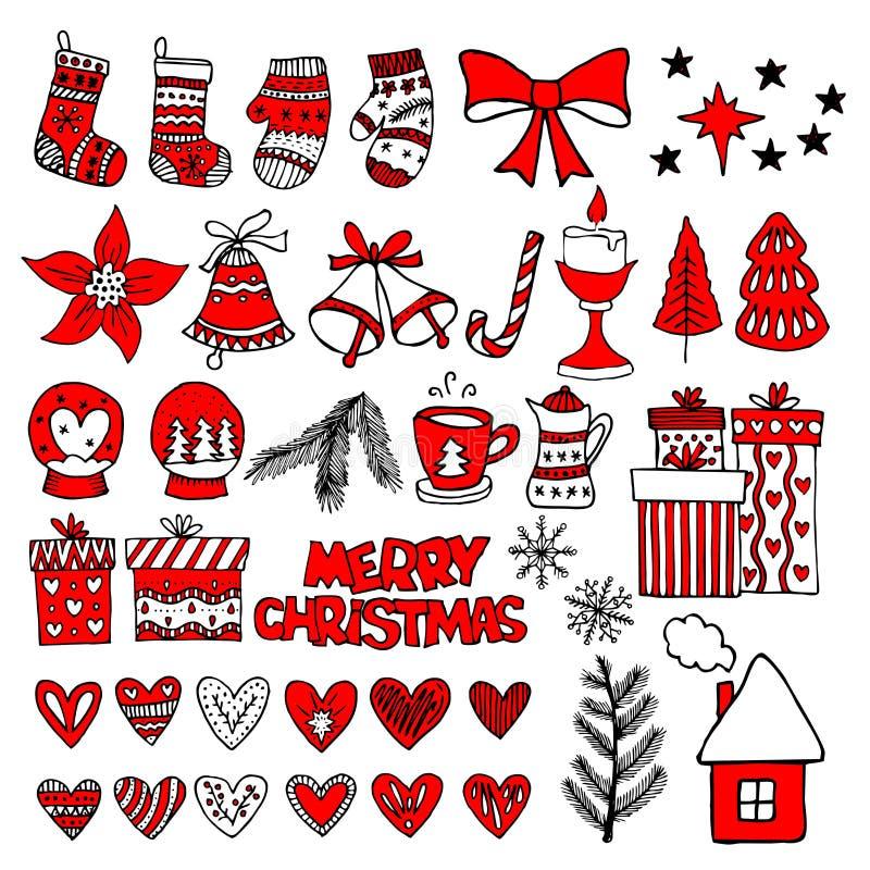 Hand-drawn παιχνίδια Χριστουγέννων, στοιχεία και διακοσμήσεις για το χειμώνα και απεικονίσεις διακοπών διανυσματική απεικόνιση