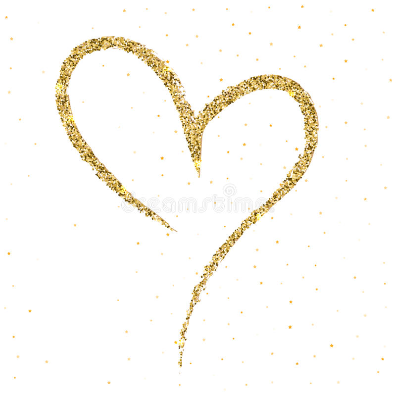 Hand-drawn, περιγραμματικός, doodle καρδιά με το σπινθήρισμα και πυράκτωση στο άσπρο σκηνικό Ένα σύμβολο που σύρεται με μια βούρτ διανυσματική απεικόνιση
