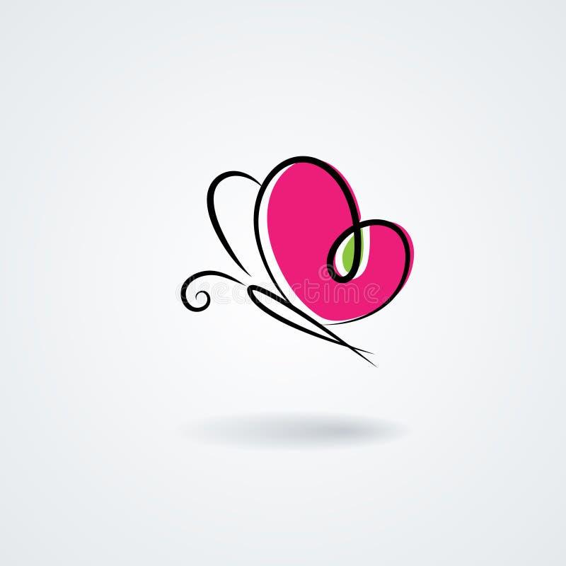 Hand-drawn πεταλούδα με τα φτερά μορφής μιας καρδιάς διανυσματική απεικόνιση