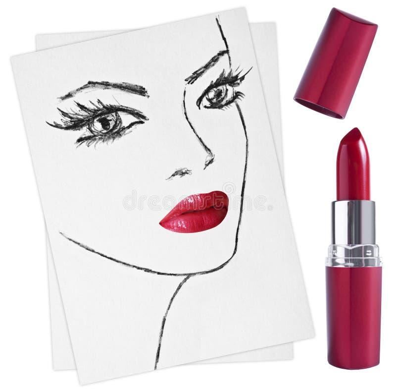 Hand-drawn πρόσωπο και κραγιόν γυναικών διανυσματική απεικόνιση