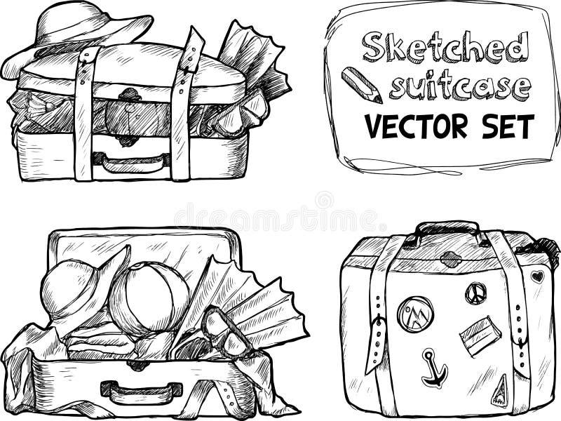 Hand-drawn σκίτσα βαλιτσών καθορισμένα διανυσματική απεικόνιση
