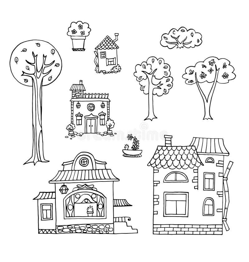 Hand-drawn σπίτι και δέντρο doodles Διανυσματική συλλογή ελεύθερη απεικόνιση δικαιώματος