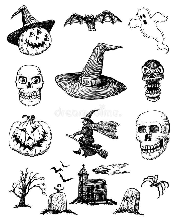 Hand-drawn σύνολο αποκριών απεικόνιση αποθεμάτων