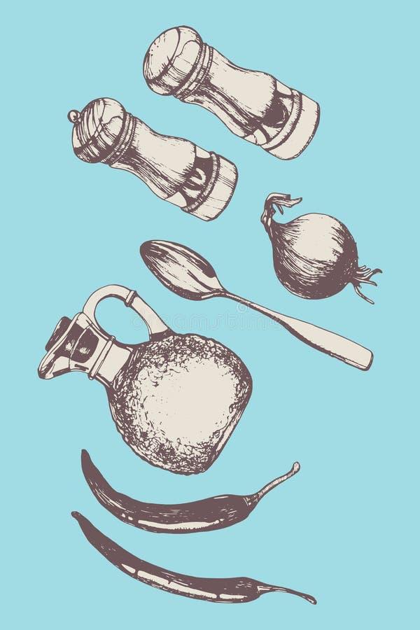 Hand-drawn σύνολο κουζινών ελεύθερη απεικόνιση δικαιώματος