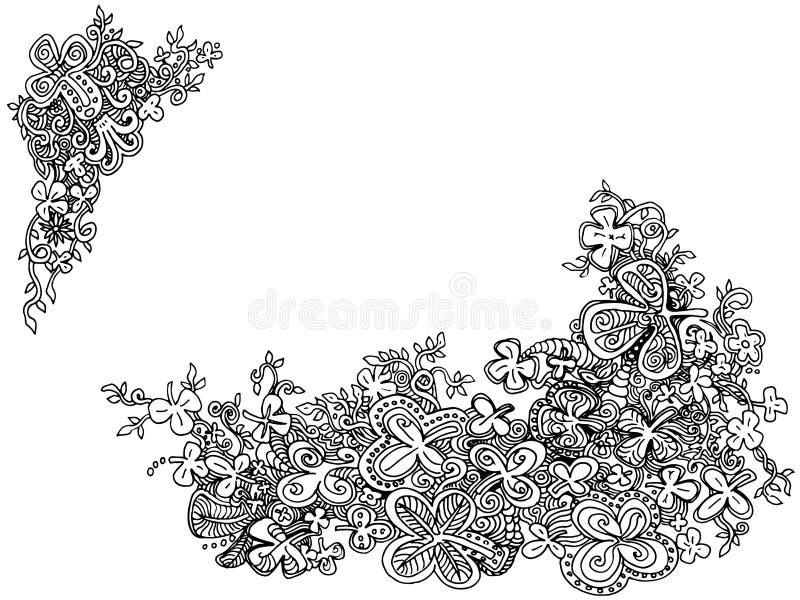 Hand-drawn τριφύλλι Doodles τριφυλλιών ελεύθερη απεικόνιση δικαιώματος