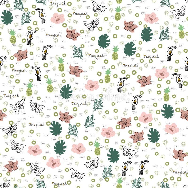 Hand-drawn τροπικό άνευ ραφής σχέδιο doodle απεικόνιση αποθεμάτων