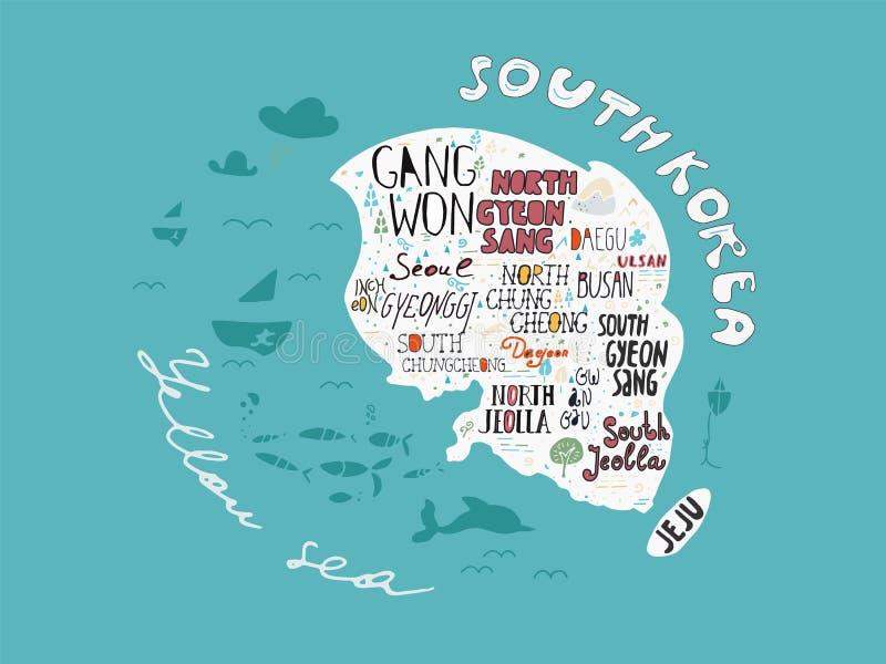 Hand-drawn χάρτης του διανύσματος της Κορέας με τα ονόματα της απεικόνισης περιοχών, αφίσα σχεδίου ελεύθερη απεικόνιση δικαιώματος