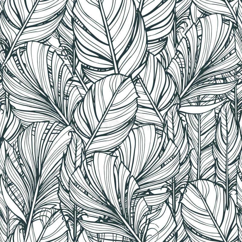 Άνευ ραφής σχέδιο με τα hand-drawn φτερά Στοιχεία σχεδίου χίπηδων Χρωματίζοντας σελίδες βιβλίων για τους ενηλίκους διανυσματική απεικόνιση