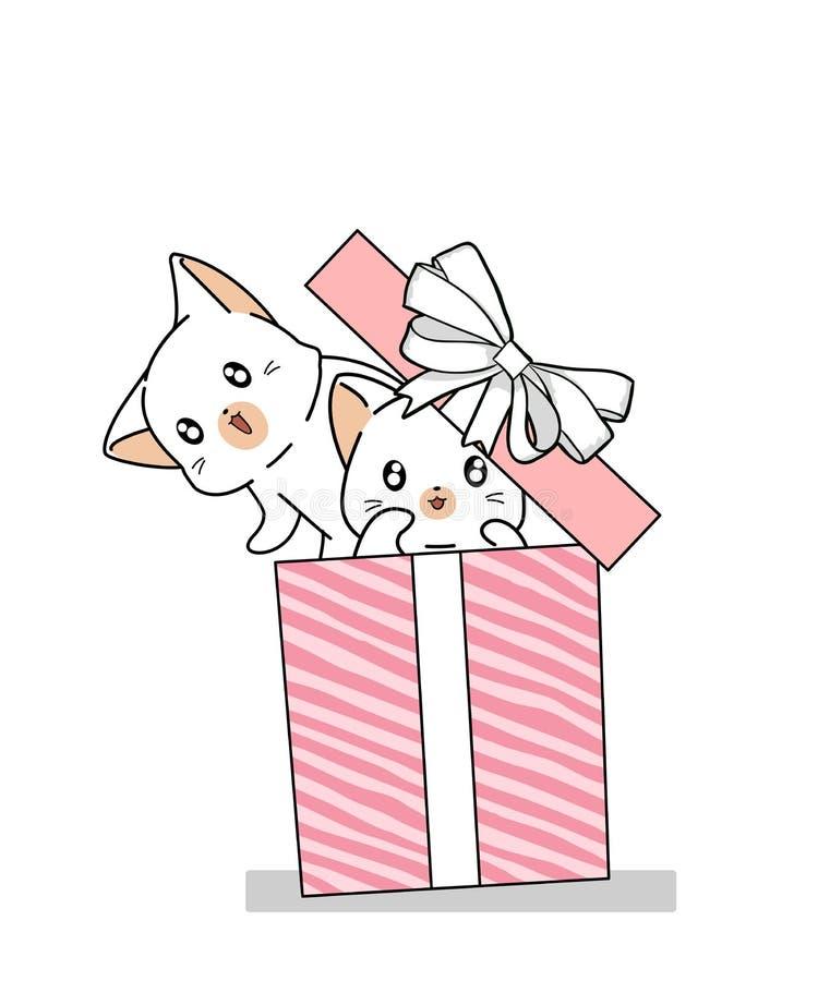 Free Hand Drawn 2 Kawaii Cats In The Pink Gift Box Stock Photos - 161629433
