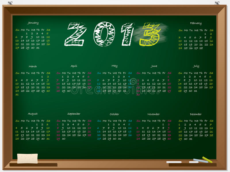 Hand Drawn 2013 Calendar Royalty Free Stock Photo