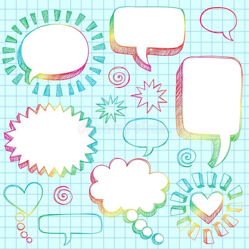Hand-Drawn 3D Speech Bubbles Sketchy Doodles stock illustration