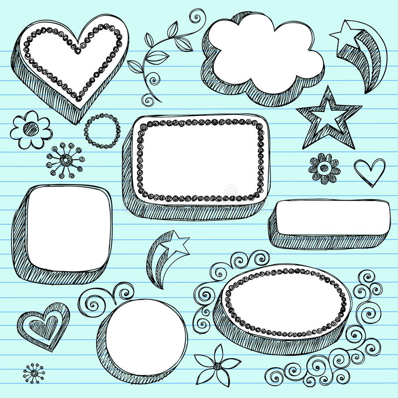 Hand-Drawn 3D Speech Bubbles Sketchy Doodles vector illustration