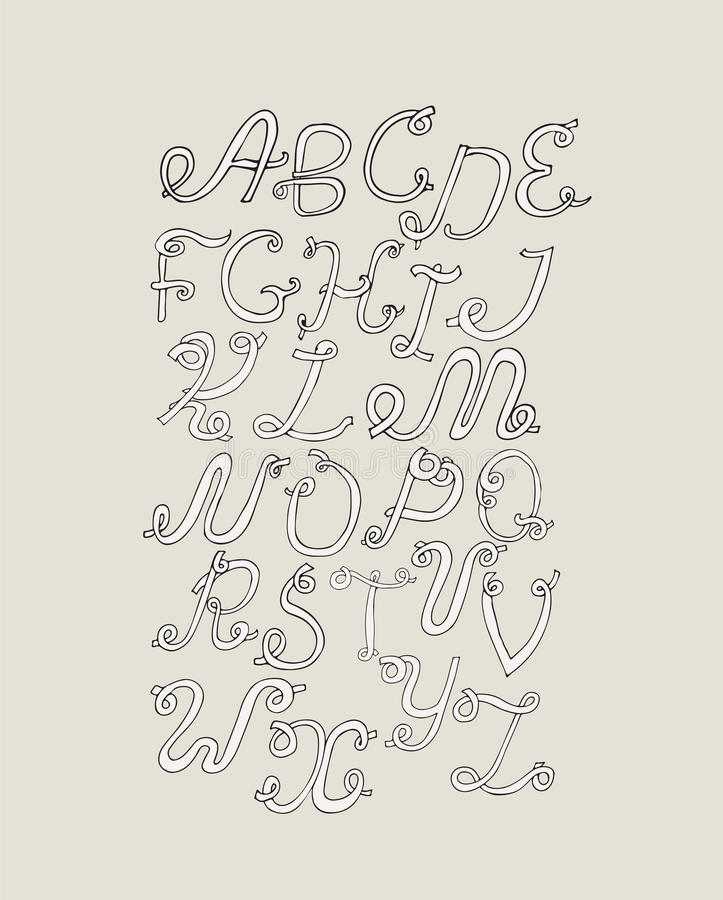 Download Hand Drawn ABC Funky Letters Isolated On Light Background Grunge