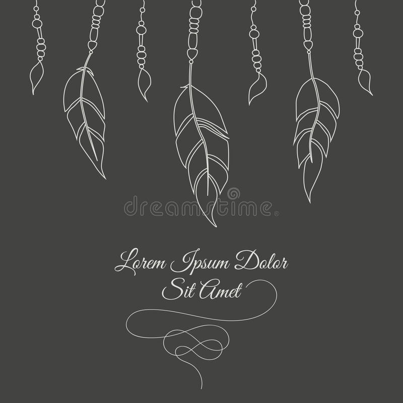 Hand drawn abstract background with feathers and decorative laces. royalty free illustration