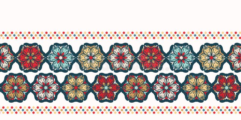 Hand drawn abstract Christmas flower border pattern. Stylized poinsettia floral on green background. Winter holiday ribbon trim. stock illustration