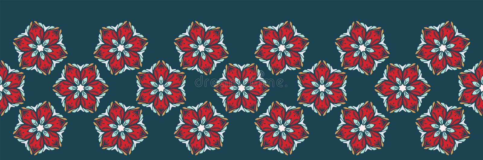Hand drawn abstract Christmas flower border pattern. Stylized poinsettia floral on green background. Winter holiday ribbon trim. Abstract Christmas flower royalty free illustration