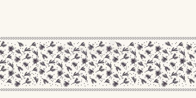 Hand drawn abstract Christmas foliage border pattern. Tiny tossed fir tree branch on white background. Cute winter holiday ribbon. Drawn abstract Christmas vector illustration