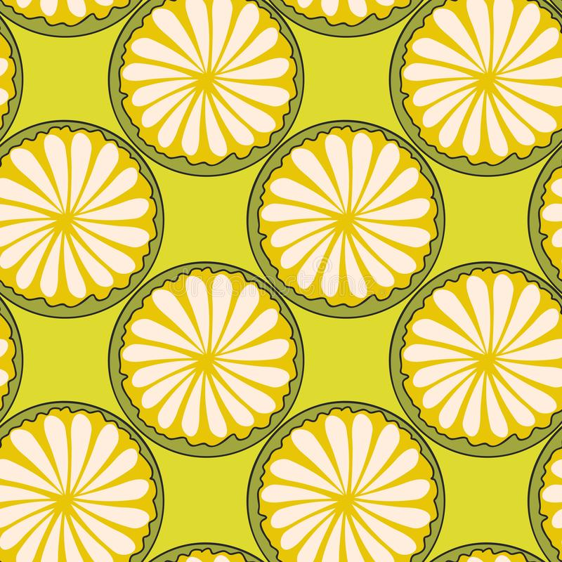 Hand drawn abstract cut circles of citrus fruits on english green background royalty free illustration