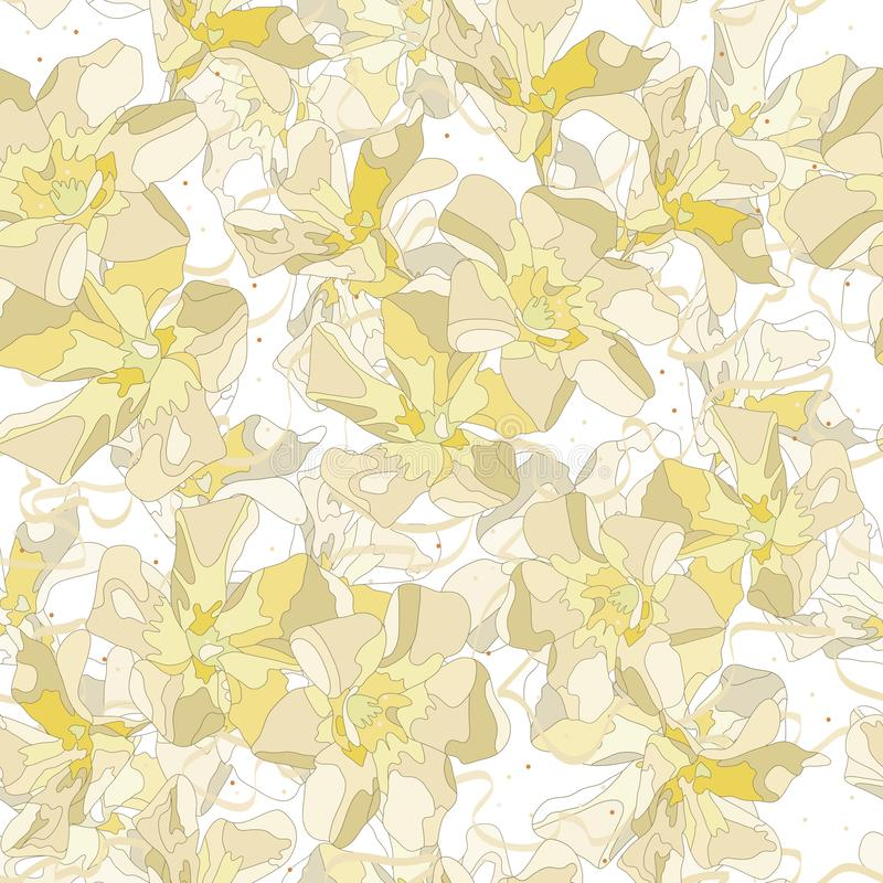 Hand drawn abstract  flowers and curly ribbon on white background. Softness pistachio color floral vector seamless pattern. Hand drawn abstract  flowers and vector illustration