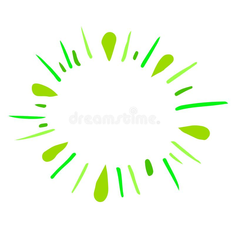 Hand drawn abstract green bright summer vector round frame, circle of grass and drops royalty free illustration