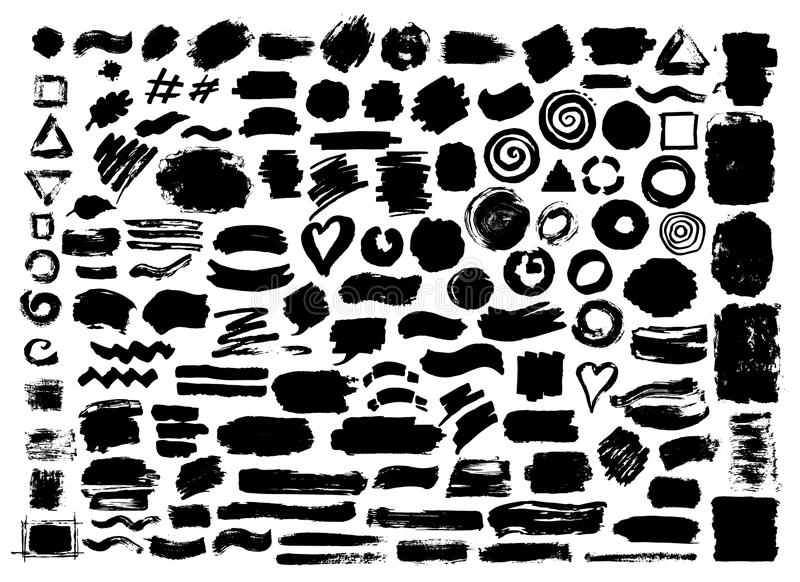 Hand drawn abstract grunge paint dry brush strokes royalty free illustration