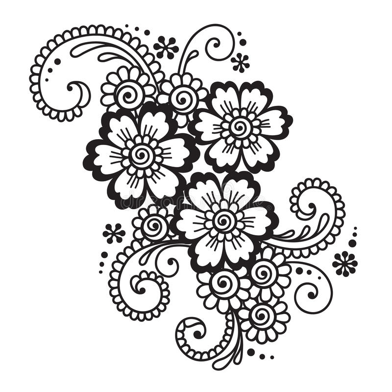 Mehndi Hand Vector Free Download : Hand drawn abstract henna mehndi flower ornament stock