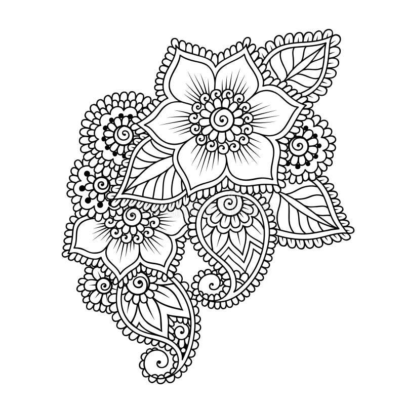 hand drawn abstract henna mehndi flower ornament stock