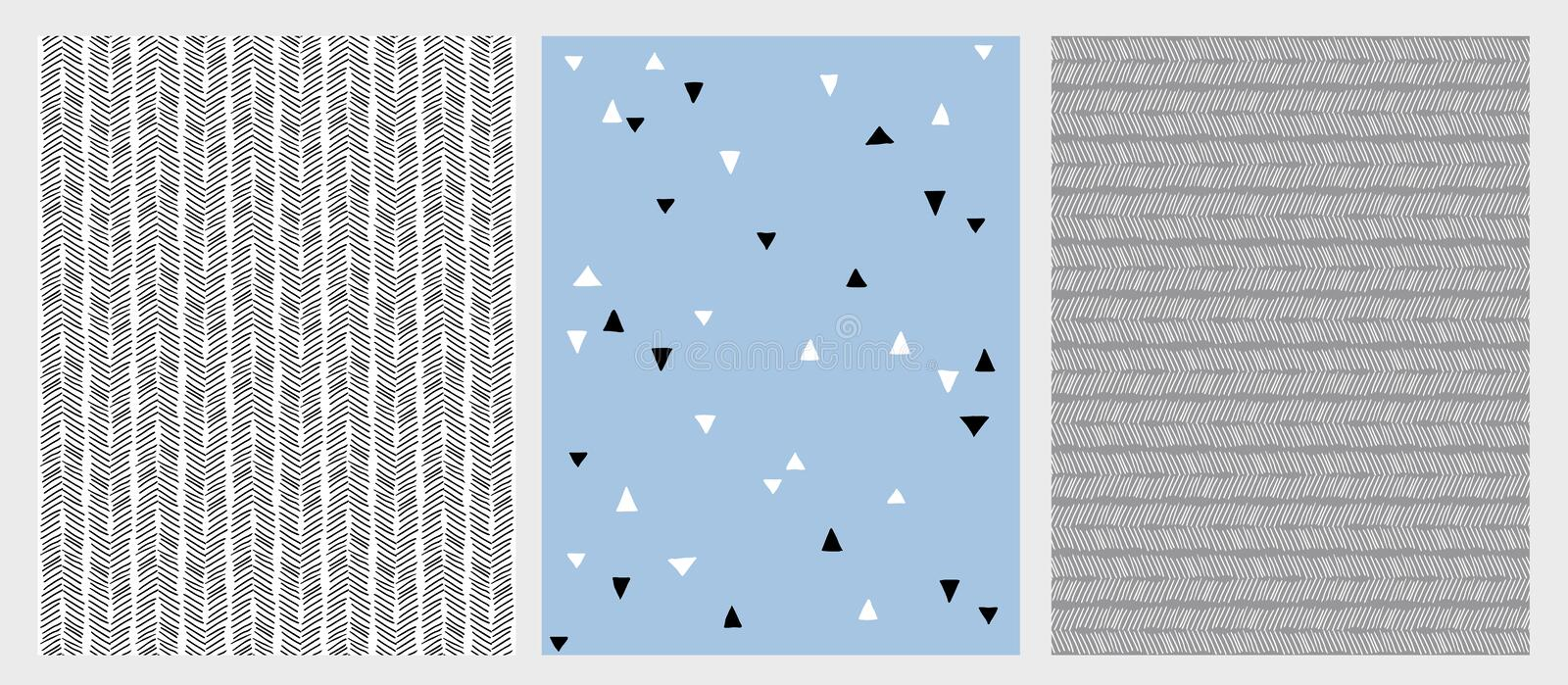 Hand Drawn Abstract Lines and Triangles Vector Patterns Set. 3 Various Design. royalty free illustration