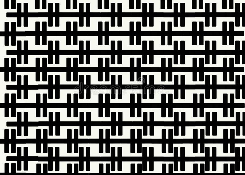 Hand drawn, Abstract monochrome background created with zipper lines. On white background, Bricks cladding floor pattern stock illustration