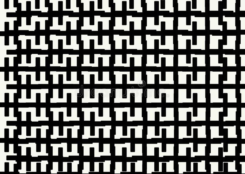 Hand drawn, Abstract monochrome background created with zipper lines. On white background, Bricks cladding floor pattern royalty free illustration