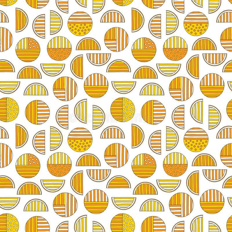 Hand drawn abstract oranges seamless pattern. Vector colorful background in modern style. Striped funny texture for. Surface designs, textiles, wrapping papers royalty free illustration