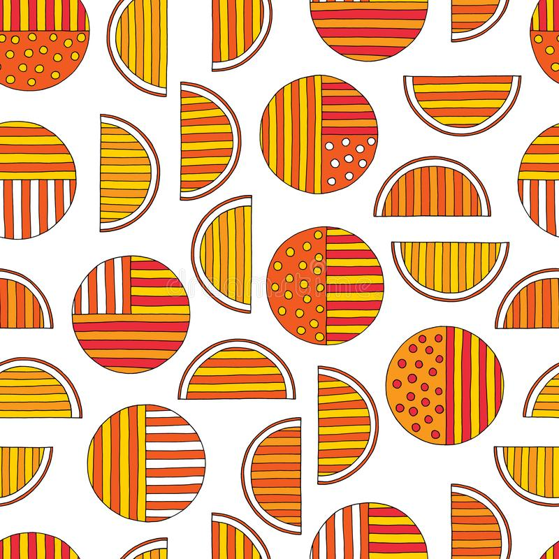 Hand drawn abstract oranges seamless pattern. Vector colorful background in modern style. Striped funny texture for. Surface designs, textiles, wrapping papers vector illustration