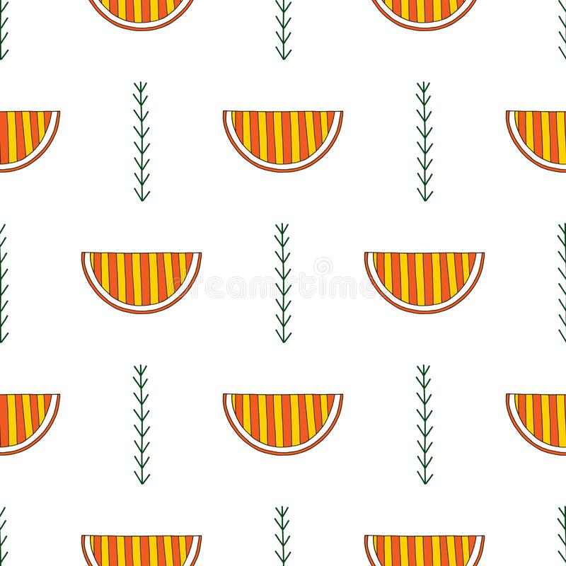 Hand drawn abstract oranges seamless pattern. Vector colorful background in modern style. Striped funny texture for. Surface designs, textiles, wrapping papers stock illustration