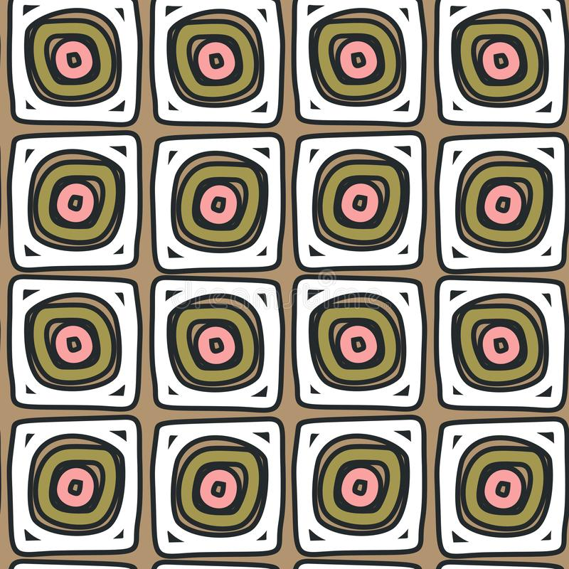 Hand drawn abstract patterned squares like rolls on beige background. vector illustration