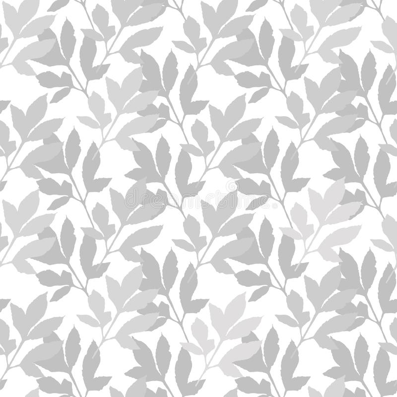 Hand drawn abstract silhouettes of gray leaves on white background. vector illustration