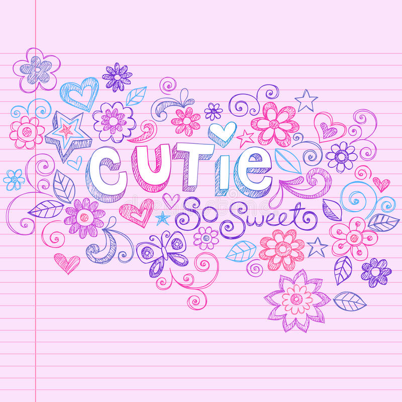 Hand-Drawn Abstract Sketchy Cutie Doodles vector illustration