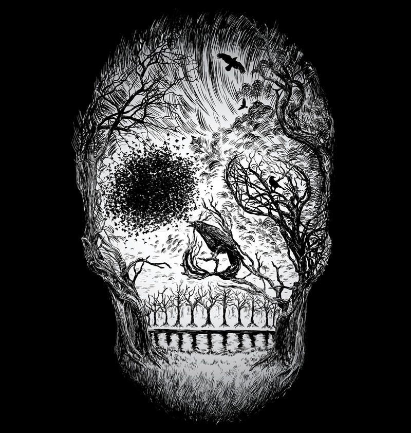 Hand Drawn Abstract Skull Made from Trees and foliage vector illustration