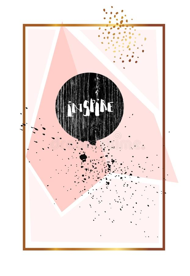 Hand drawn abstract texture artistic poster with handwritten modern lettering inspirational phase Inspire in pastel,gold royalty free illustration
