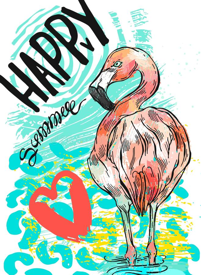 Hand drawn abstract textured vector summer fun card template with pink flamingo,red heart and handwritten lettering. Happy Summer.Design element for cruise card vector illustration