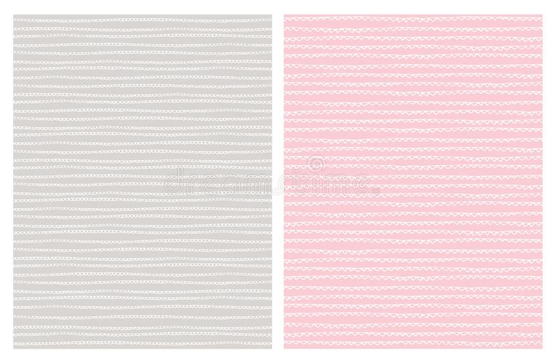 Hand Drawn Abstract Trail Vector Patterns. White. Light Gray and Pink Design. stock illustration