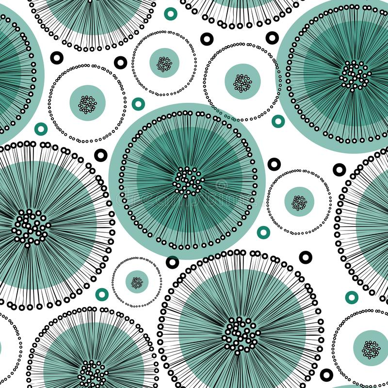 Hand drawn abstract turquoise dandelion flowers in black outline on white background stock illustration