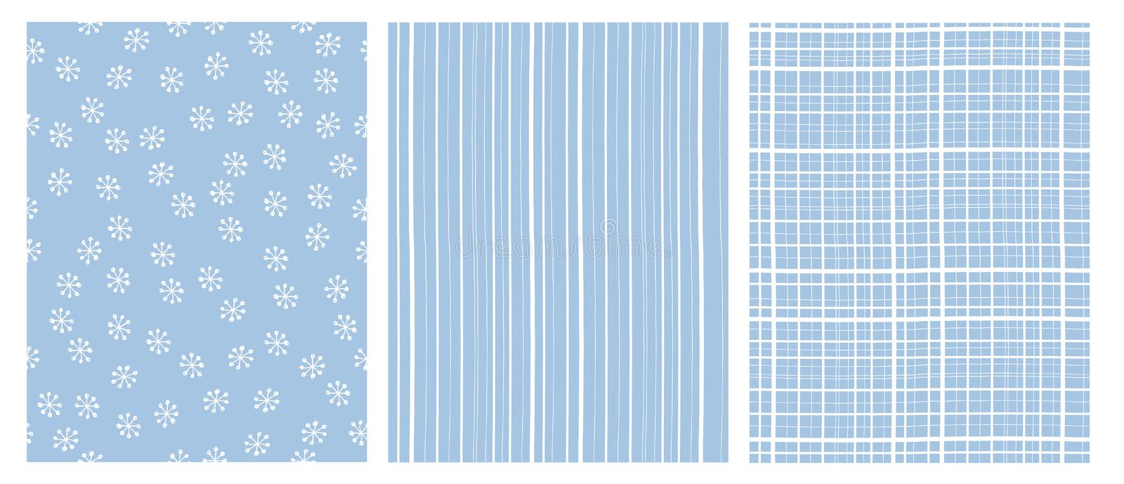 Hand Drawn Abstract Vector Patterns. White and Blue Infantile Design. Stripes and Snow Flakes. vector illustration