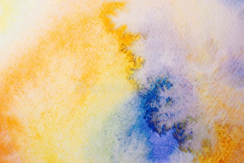 Hand drawn abstract watercolor background, original waldorf wet painting. Lesson for beginners, artist, student, pupil. First step royalty free illustration