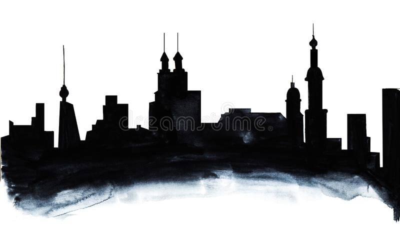 Hand drawn abstract watercolor background on paper texture. Gradient shadow from black to grey creates. City outlines on white fond viewed as thickened smoke vector illustration