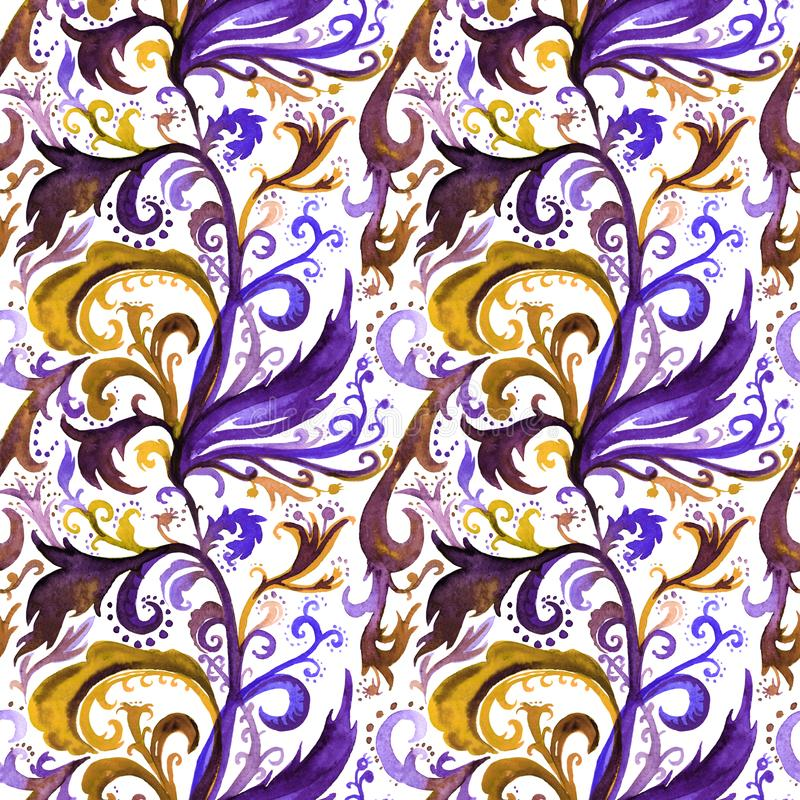 Hand drawn abstract watercolor seamless pattern with gold, violet and dark blue floral ornament, curls, wavy lines royalty free illustration