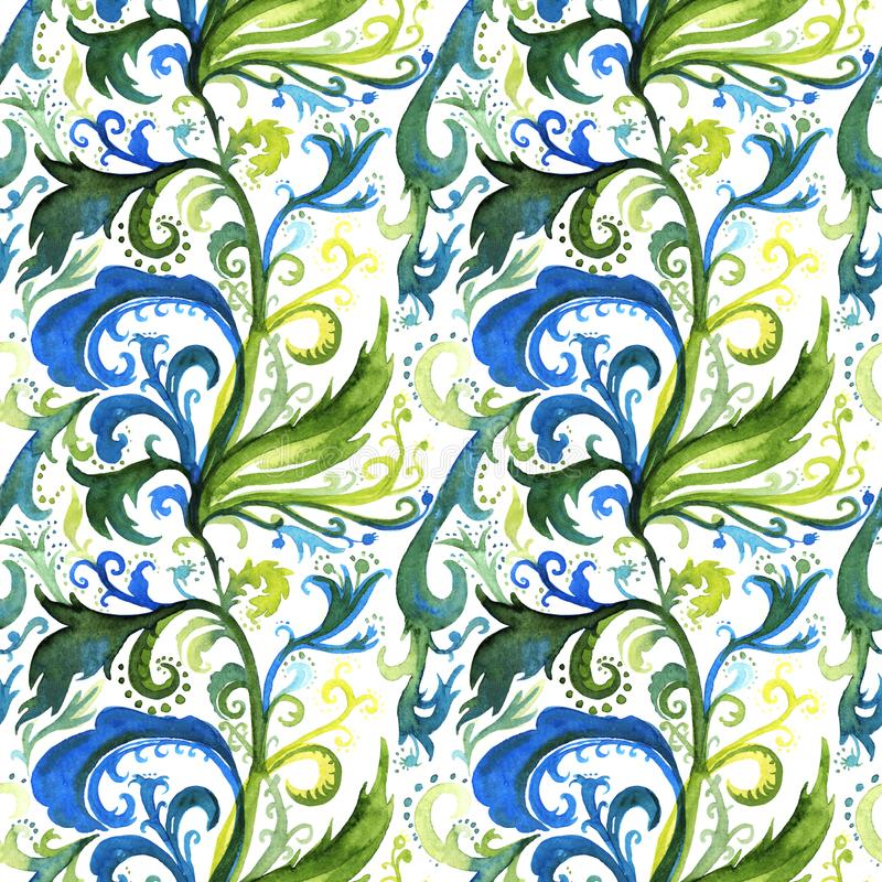 Hand drawn abstract watercolor seamless pattern with lime, blue and green floral ornament, curls, wavy lines, doodles on vector illustration